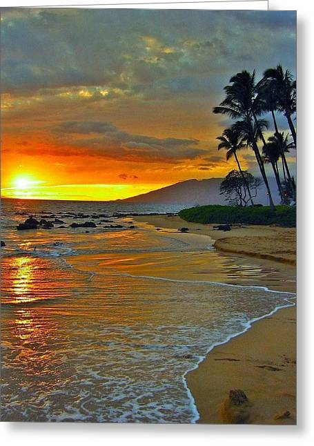 At The Beach Life Passes Differently Greeting Card