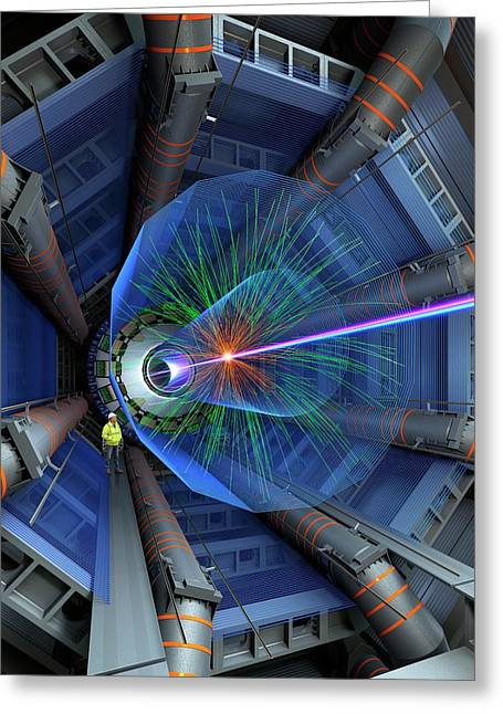Atlas Particle Collision Simulation Greeting Card by David Parker