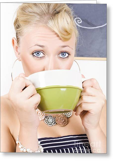 Attractive Blonde Woman Drinking Green Tea Greeting Card by Jorgo Photography - Wall Art Gallery