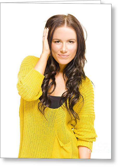 Attractive Brunette Woman With Fresh New Haircut Greeting Card