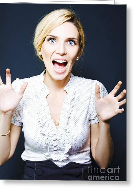 Attractive Business Woman Screaming In Terror Greeting Card by Jorgo Photography - Wall Art Gallery