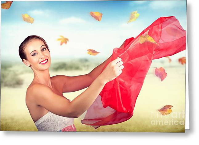 Attractive Girl On Outdoor Autumn Picnic Break Greeting Card