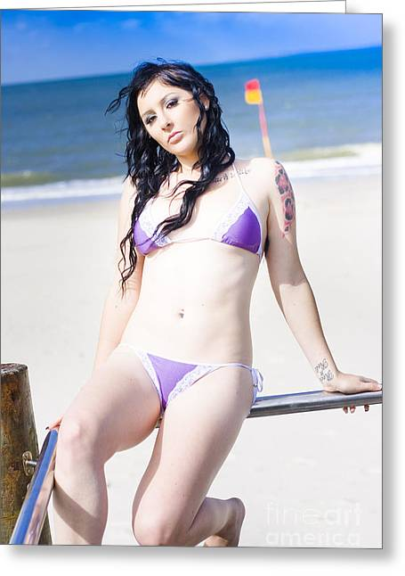 Attractive Girl On The Beach Greeting Card