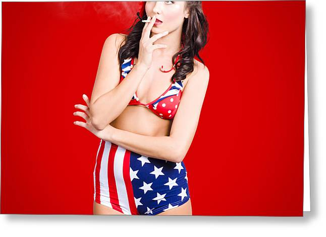 Attractive Usa Pinup Woman Smoking Greeting Card by Jorgo Photography - Wall Art Gallery