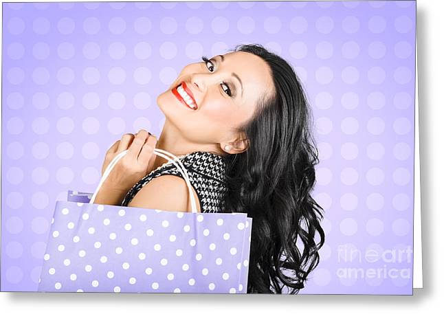 Attractive Young Asian Girl Shopping In Style Greeting Card by Jorgo Photography - Wall Art Gallery