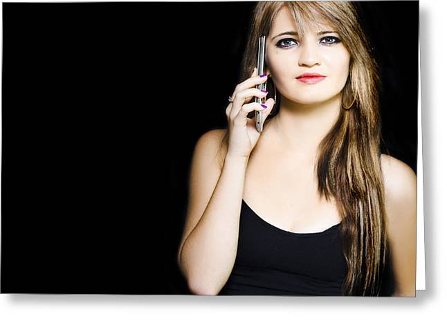 Attractive Young Business Woman Using Mobile Phone Greeting Card