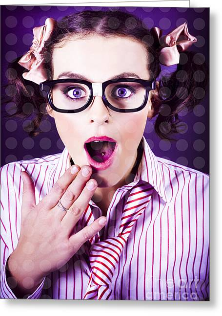 Attractive Young Nerd Girl With Surprised Look Greeting Card by Jorgo Photography - Wall Art Gallery