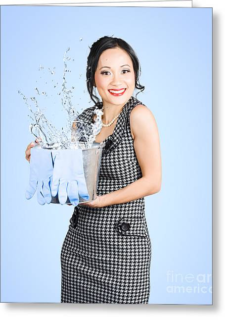 Attractive Young Woman Holding Cleaning Equipment Greeting Card
