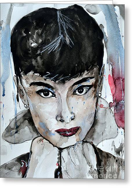 Audrey Hepburn - Abstract Art Greeting Card by Ismeta Gruenwald