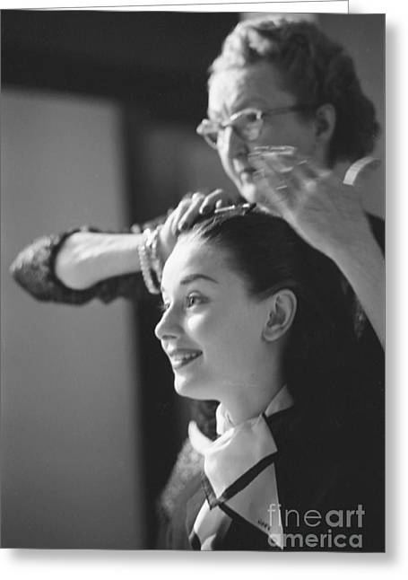 Audrey Hepburn Preparing For A Scene In Roman Holiday Greeting Card