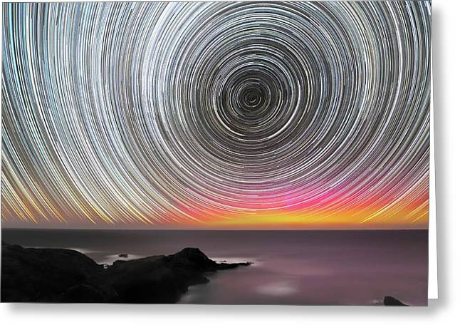 Aurora Australis And Star Trails Greeting Card