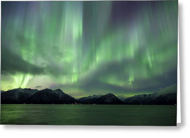 Aurora Borealis Dancing Greeting Card by Lucas Payne