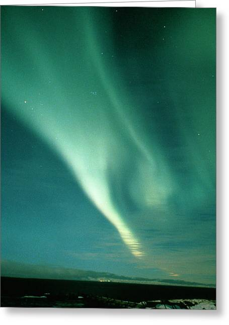 Aurora Borealis Display Seen From Northern Norway Greeting Card by Pekka Parviainen/science Photo Library
