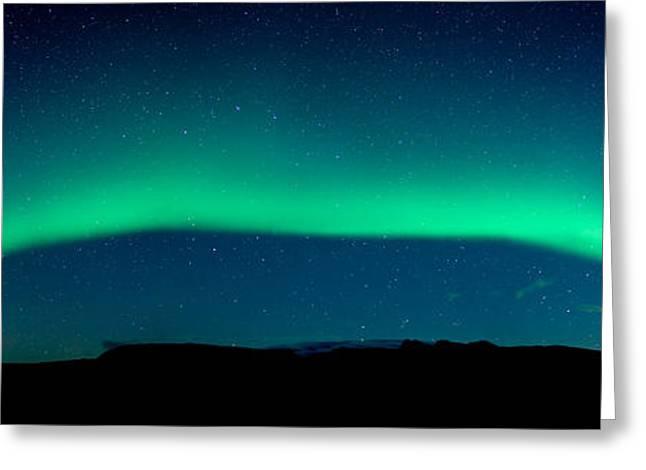 Aurora Borealis Or Northern Lights, Vik Greeting Card by Panoramic Images