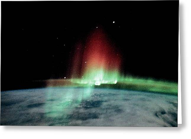 Aurora Borealis Seen From The Iss Greeting Card