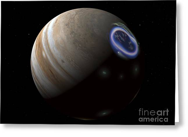 Aurora On Jupiter, Artwork Greeting Card