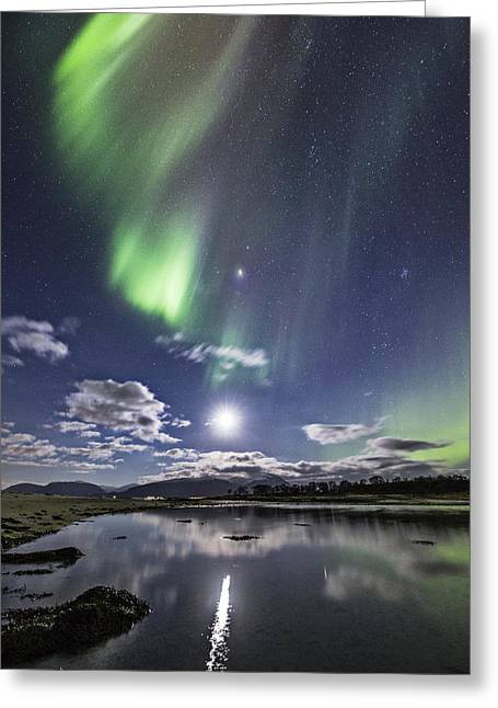Auroras And Moon Greeting Card by Frank Olsen