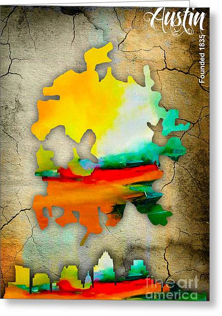 Austin Map And Skyline Watercolor Greeting Card