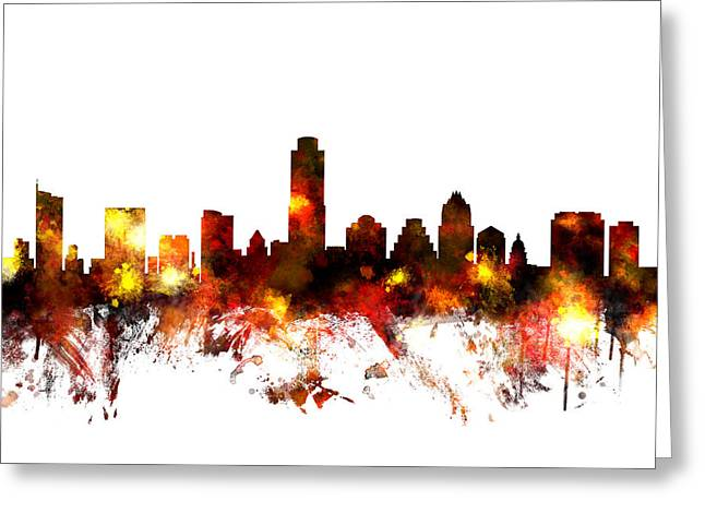 Austin Texas Skyline Greeting Card by Michael Tompsett