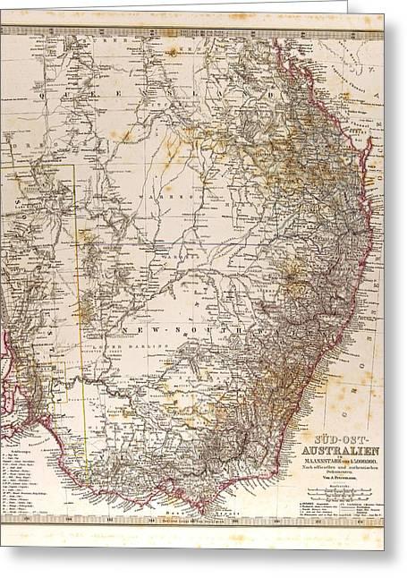 Australia Map Gotha Justus Perthes 1872 Atlas Greeting Card