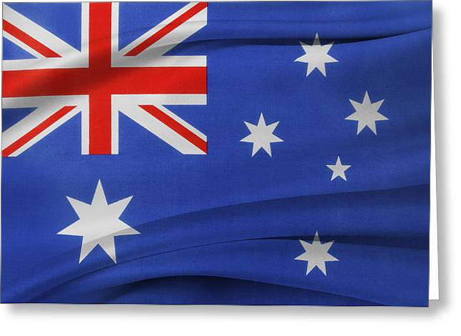 Australian Flag Greeting Card by Les Cunliffe