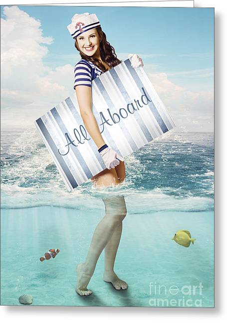 Australian Sailor Pin-up Woman Holding Sign Board Greeting Card by Jorgo Photography - Wall Art Gallery