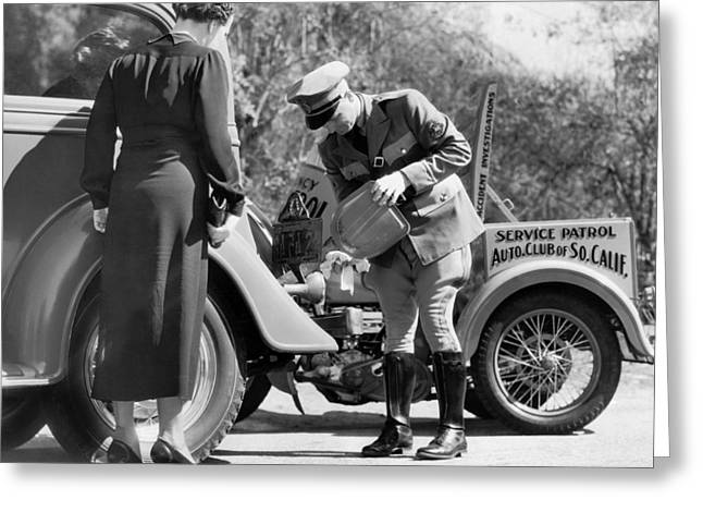 Auto Service Patrol Gives Aid Greeting Card by Underwood Archives