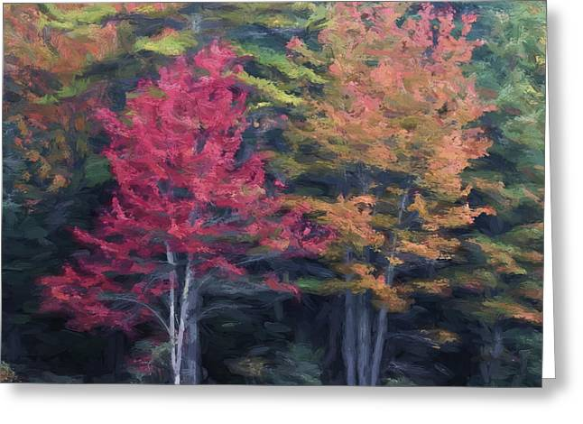 Autumn Color Painterly Effect Greeting Card by Carol Leigh