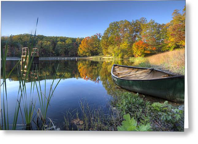 Autumn Lake Greeting Card by Debra and Dave Vanderlaan