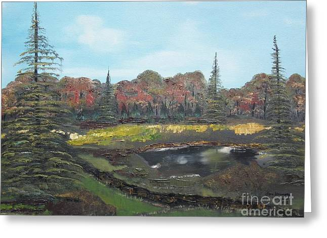 Greeting Card featuring the painting Autumn Landscape by Jan Dappen