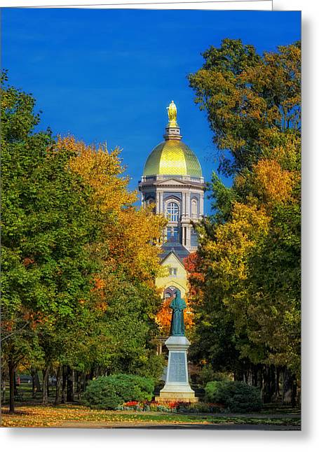 Autumn On The Campus Of Notre Dame Greeting Card by Mountain Dreams