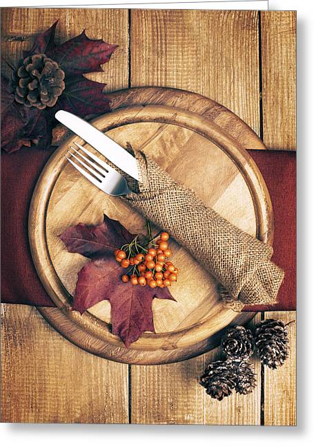 Autumn Table Setting Greeting Card by Amanda Elwell