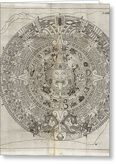 Aztec Calendar Stone Greeting Card by Library Of Congress