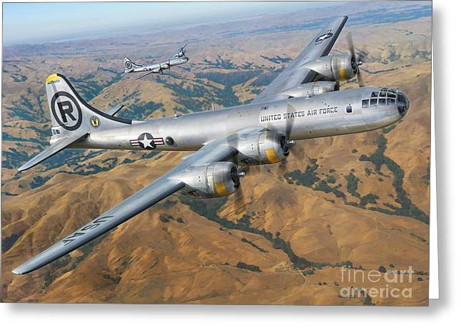 B-29 On Silver Wings Greeting Card