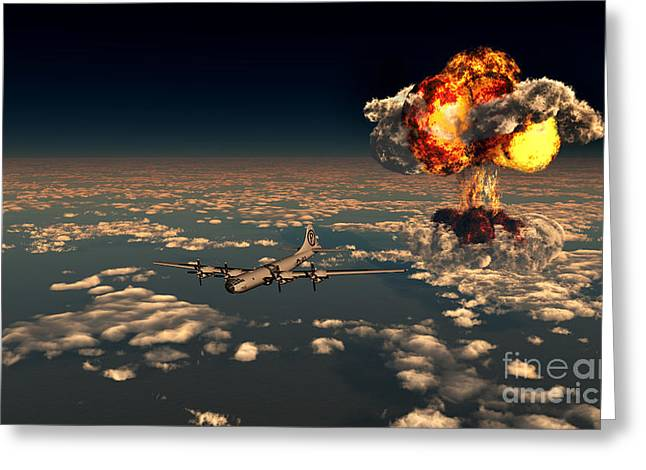 B-29 Superfortress Flying Away Greeting Card