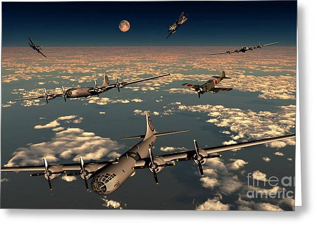 B-29 Superfortress Planes Under Attack Greeting Card by Mark Stevenson