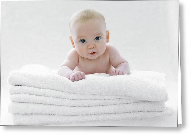 Baby Boy Lying On Towels Greeting Card by Ruth Jenkinson