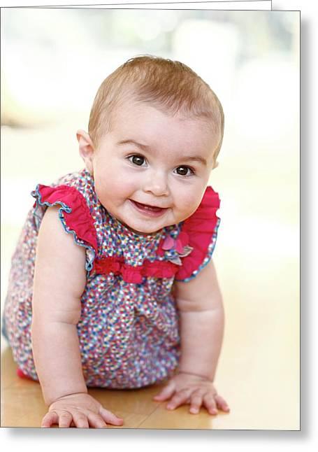 Baby Girl Greeting Card by Ian Hooton