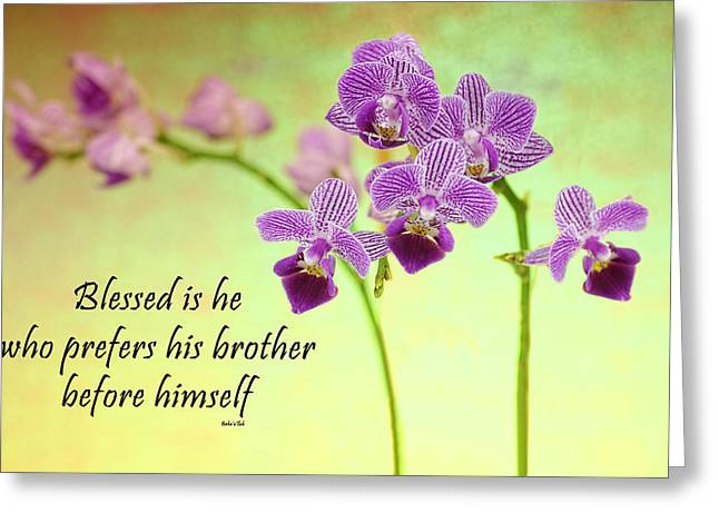 Bahai Purple Orchid Quote Greeting Card
