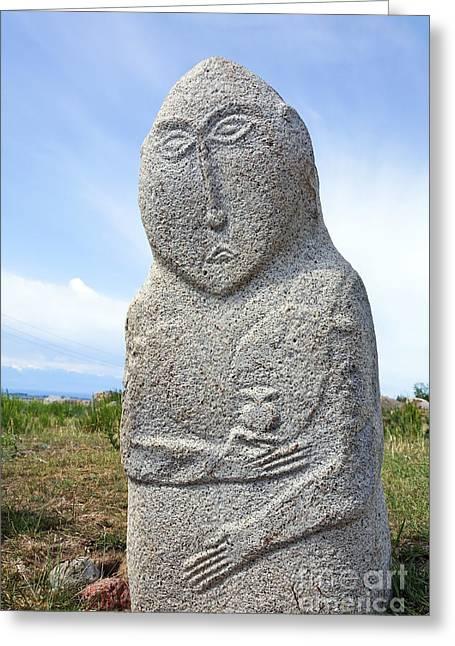 Balbal Monument At Cholpon Ata In Kyrgyzstan Greeting Card