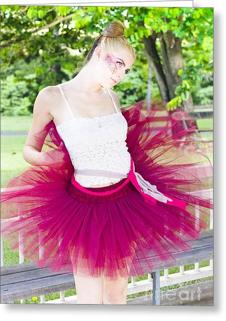 Ballerina Stretching And Warming Up Greeting Card by Jorgo Photography - Wall Art Gallery