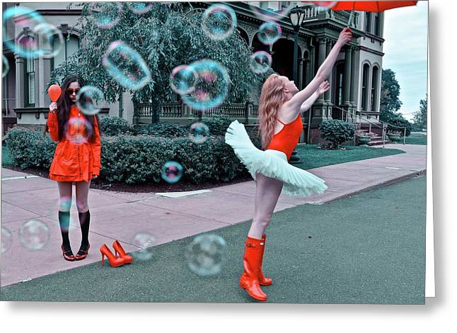 Ballerina With Mysterious Girl Greeting Card by