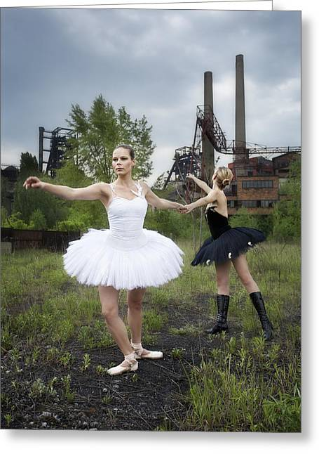 Ballerinas In Black And White Greeting Card