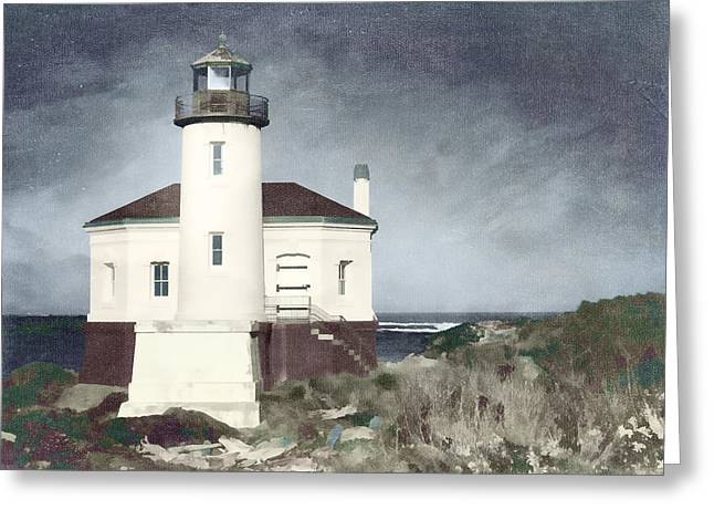 Bandon Lighthouse Greeting Card by Carol Leigh