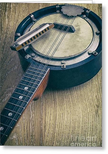 Banjo And Harp Greeting Card