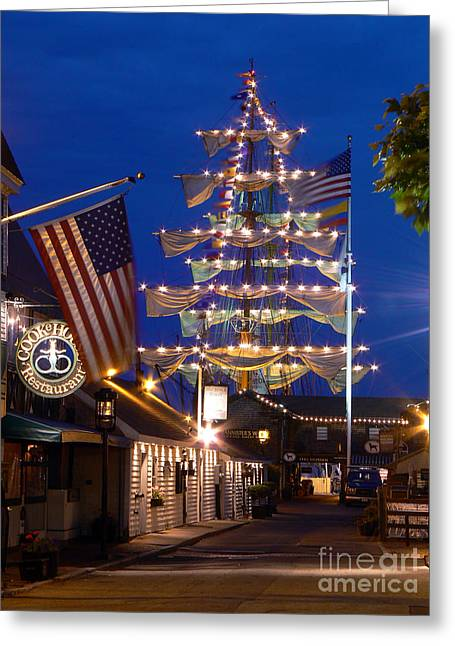 Bannister's Wharf And The Tall Ships Greeting Card by Butch Lombardi