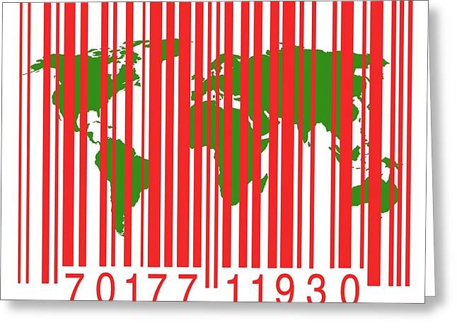 Bar Code With The World Map Greeting Card by Victor De Schwanberg