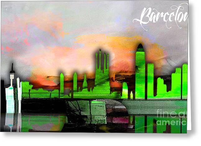 Barcelona Spain Skyline Watercolor Greeting Card by Marvin Blaine
