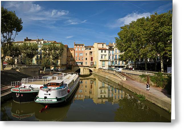 Barges On The Canal Du Midi As It Runs Greeting Card by Panoramic Images