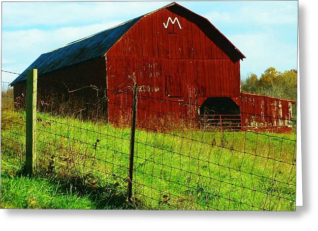 Barn With An M Greeting Card